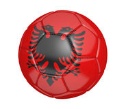 Isolated soccer ball, or football, with the country flag of Albania. Rendered in 3D on a white background Stock Image