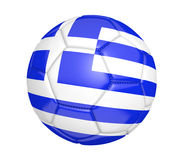 Isolated soccer ball, or football, with the country flag of Greece, 3D rendering Royalty Free Stock Photos