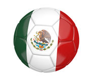 Isolated soccer ball, or football, with the country flag of Mexico. Rendered in 3D on a white background Stock Images
