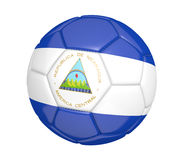 Isolated soccer ball, or football, with the country flag of Nicaragua. Rendered in 3D on a white background Stock Photos
