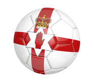 Isolated soccer ball, or football, with the country flag of Northern Ireland. Rendered in 3D and isolated on a white background Stock Image