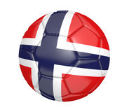 Isolated soccer ball, or football, with the country flag of Norway. Rendered in 3D and isolated on a white background Stock Photography