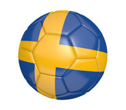 Isolated soccer ball, or football, with the country flag of Sweden. Rendered in 3D on a white background Royalty Free Stock Images