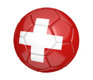 Isolated soccer ball, or football, with the country flag of Switzerland. Rendered in 3D and isolated on a white background Stock Photo