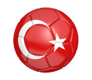 Isolated soccer ball, or football, with the country flag of Turkey. Rendered in 3D on a white background Stock Photos