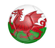 Isolated soccer ball, or football, with the country flag of Wales. Rendered in 3D on a white background Royalty Free Stock Photos