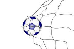 Isolated soccer ball in the goal net . Royalty Free Stock Image
