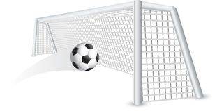 Isolated soccer ball in net Royalty Free Stock Images
