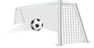 Isolated soccer ball in net vector illustration