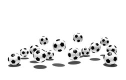 Isolated soccer balls. In the air with shadow - 3d illustration Stock Photo