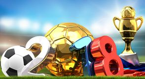 2018 isolated soccer football ball symbol. Russian white blue re. D colored and golden trophy 3d rendering illustration Royalty Free Stock Photos