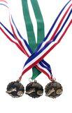 Isolated soccer medals. Three soccer medals on isolated background Royalty Free Stock Images