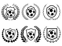 Soccer shield with laurel wreath icons set vector illustration