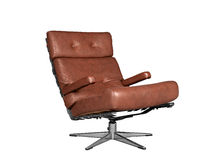 Isolated soft brown leather stylish chair Stock Photography