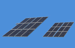 Isolated Solar Panels on Clear Blue Background Royalty Free Stock Photos
