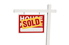 Isolated Sold Home For Sale Sign Stock Images