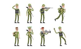 Isolated soldier set. Cartoon character in camouflage clothes and with gun royalty free illustration