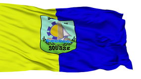 Isolated Sousse city flag, Tunisia. Sousse flag, city of Tunisia, realistic animation isolated on white seamless loop - 10 seconds long alpha channel is included stock video footage