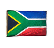 Isolated South African flag in wind. Isolated South African flag in the wind Stock Image