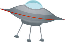 Isolated spaceship at an angle Vector. Simple ufo with three legged one glass dome Royalty Free Stock Photos