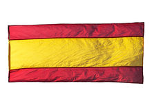 Isolated Spanish flag in wind Royalty Free Stock Images