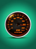 Isolated speedometer shows current speed of 232 kilometers an ho Stock Photo