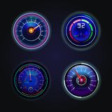Isolated speedometers or gauges for speed Royalty Free Stock Image
