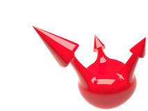 Isolated sphere with arrows, 3D Royalty Free Stock Photography