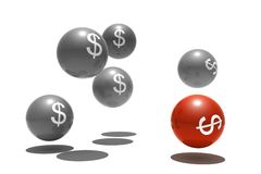 Isolated spheres with dollar symbol Stock Photo
