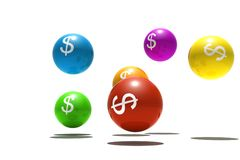 Isolated spheres with dollar symbol. 3d render Stock Images