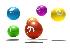 Isolated spheres with euro symbol. 3d render Stock Images
