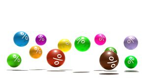 Isolated spheres with percent symbol Stock Image