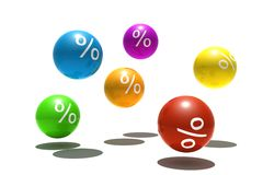 Isolated spheres with percent symbol. Isolated multicolor spheres with percent symbol - 3d render Stock Photography