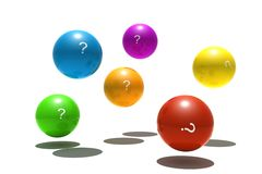 Isolated spheres with question-mark symbol Stock Images