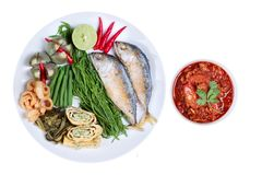 Spicy meat and tomato dip,Nam Prik Ong,with side dish. Isolated of spicy meat and tomato dip,Nam Prik Ong in Thai,Northern style chili and tomato dip ,with side royalty free stock images