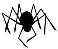 Isolated Spider Silhouette. A clip art illustration of a black spider silhouette isolated on white background Stock Photo