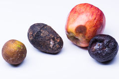 Isolated spoiled fruits Royalty Free Stock Image