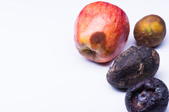 Isolated spoiled fruits Royalty Free Stock Images