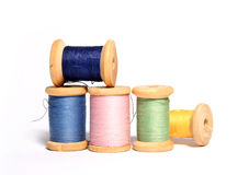 Isolated spools of colored threads Stock Photography