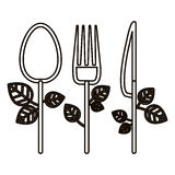 Isolated spoon knife and fork design. Spoon knife and fork icon. Cutlery dishware tool and utensil theme. Isolated design. Vector illustration Royalty Free Stock Photos