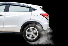 Isolated  sport car wheel with drifting and smoking on a black b Stock Image