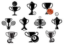 Isolated sporting trophy icons set Stock Image