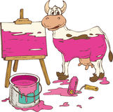 Isolated Spotted Cow Painted in a Pink, Tin Can of Paint. Abstract Picture on the Wooden Easel, Spotted Cow Painted in a Pink, Tin Can of Pink Paint and Roller Stock Photo