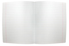 Isolated spread sheet of lined note paper Stock Image