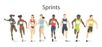 Isolated sprinters set. stock illustration