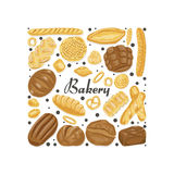 Isolated square of colored bakery products. Vector illustration for your design Royalty Free Stock Photo