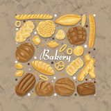Isolated square of colored bakery products. Vector illustration for your design Stock Photography
