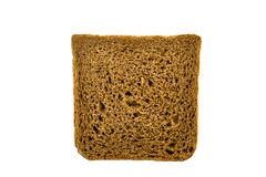 Isolated square piece of gray bread. Horizontal frame royalty free stock photo