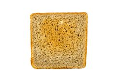 Isolated square piece of white bread. Horizontal frame royalty free stock images