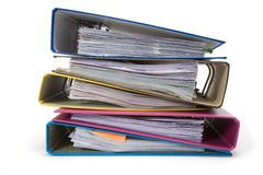 Isolated stack of folders Royalty Free Stock Photos